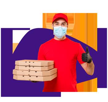 Hombre entregando un domicilio de pizza
